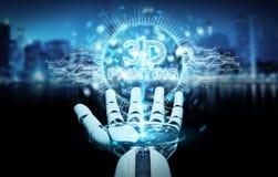 Robot biała ręka używać 3D drukuje cyfrowego holograma 3D rendering Obraz Stock