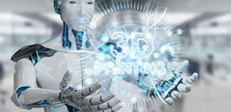 Robot biały używa 3D drukuje cyfrowego holograma 3D rendering Zdjęcie Royalty Free