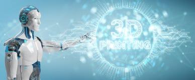 Robot biały używa 3D drukuje cyfrowego holograma 3D rendering Ilustracji