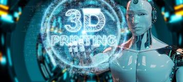 Robot biały używa 3D drukuje cyfrowego holograma 3D rendering Ilustracja Wektor
