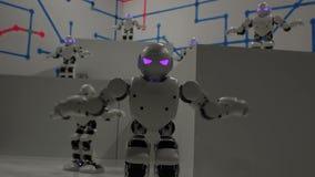 Robot bianchi divertenti di dancing video d archivio