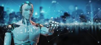 Robot bianco facendo uso del fare galleggiare le connessioni di rete digitali con i punti e le linee rappresentazione di 3D royalty illustrazione gratis