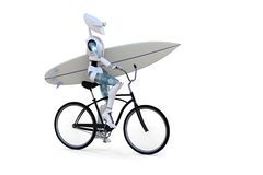 Robot on a Bicycle with Surfboard Stock Photography