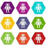 Robot with big eyes icon set color hexahedron. Robot with big eyes icon set many color hexahedron isolated on white vector illustration Stock Image