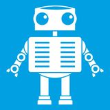 Robot with big eyes icon white. On blue background vector illustration Royalty Free Stock Photos