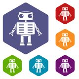 Robot with big eyes icons set hexagon. Isolated vector illustration Stock Image