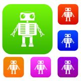 Robot with big eyes set color collection. Robot with big eyes set icon color in flat style isolated on white. Collection sings vector illustration Stock Photos