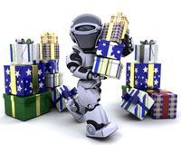 Robot with big stack of gifts Stock Images
