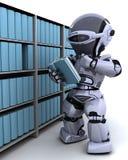 Robot bij boekenrek stock illustratie