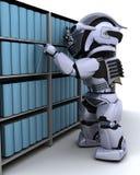 Robot bij boekenrek vector illustratie