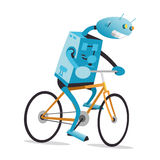 Robot on a bike Stock Images