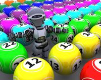 Robot with bingo balls Stock Photos