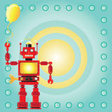 Robot Birthday Party Invitation. With red wind-up robot holding a party balloon on a bullseye background stock illustration