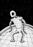 Robot. Black and white ink drawing of space robot Royalty Free Stock Image