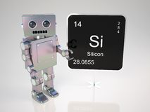 Robot at blackboard Stock Images