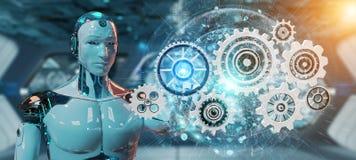 Robot blanc de humanoïde utilisant le rendu numérique des vitesses 3D illustration libre de droits
