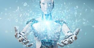 Robot blanc de humano?de cr?ant le nouveau rendu futuriste de la source d'?nergie d'?nergie 3D illustration libre de droits
