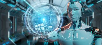 Robot blanc utilisant le renderin numérique de l'hologramme 3D de connexion de sphère illustration libre de droits