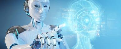 Robot blanc utilisant le rendu num?rique de l'interface 3D de t?te d'intelligence artificielle illustration stock