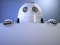 Robot with blank banner. Contains clipping path Royalty Free Stock Photography
