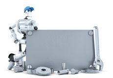Robot with blank metallic banner. . Contains clipping path Royalty Free Stock Photos