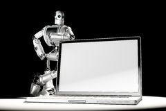 Robot with blank screen laptop. Image containc lipping path of laptop screen and entire scene Royalty Free Stock Photo