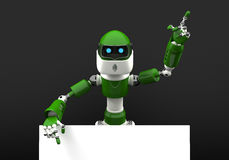 Robot with a blank sign Royalty Free Stock Photography
