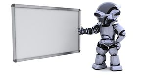 Robot with blank white board Royalty Free Stock Images
