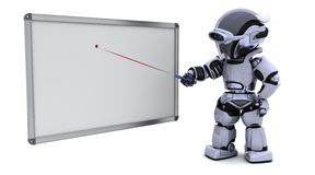 Robot with blank white board. 3D render of a robot with blank white board Stock Photos