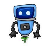 Robot blu felice volante royalty illustrazione gratis