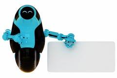 Robot blue-black alla moda con l'annuncio Fotografie Stock