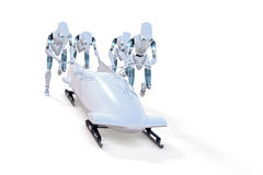 Robot Bobsledders Royalty Free Stock Images