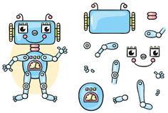 Robot body parts for kids to put together. No gradients Royalty Free Stock Photos