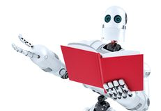 Robot with book. Close-up. . Contains clipping path Stock Photography