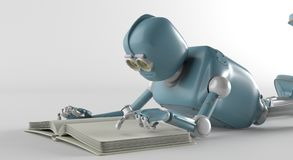 Robot with book,3d render. stock illustration