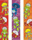 Robot bookmarks. Three colorful bookmarks with illustrated, abstract robot cartoons Stock Images