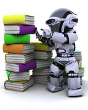 Robot  with books Stock Images