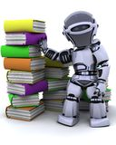 Robot  with books Stock Photography