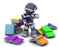 Robot  with books. 3D Render of robot with books Stock Image