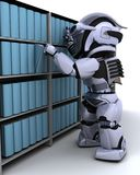 Robot at bookshelf Stock Images