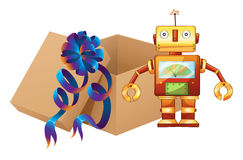A robot and a box Royalty Free Stock Photo