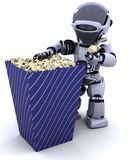 Robot with a box of popcorn Royalty Free Stock Photos