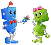 Robot boy giving a flower for robot girl Royalty Free Stock Image