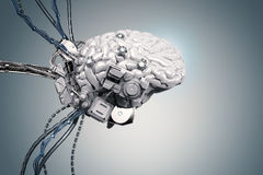 Robot with brain and wires stock image. Image of humanoid - 91432323