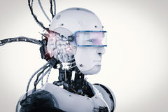 Robot with brain and wires. 3d rendering robot with brain and wires royalty free illustration
