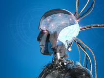 Robot with brain and wires Royalty Free Stock Photos