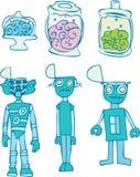 Robot Brains - Transplant. Set of 3 robots with brains being transplanted vector illustration