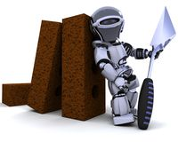 Robot with bricks and trowel. 3D render of a robot with bricks and trowel Royalty Free Stock Photos
