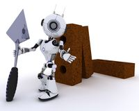 Robot with bricks and trowel. 3D Render of a Robot with bricks and trowel Royalty Free Stock Photo