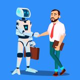 Robot With Briefcase Shakes Hands With Businessman Vector. Isolated Illustration. Robot With Briefcase Shakes Hands With Businessman Vector. Illustration stock illustration